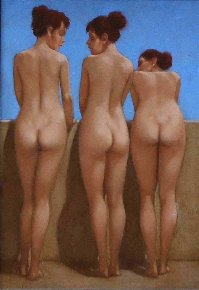 Karel van Rooijen (1945-) Three nudes. Signed with the initials a