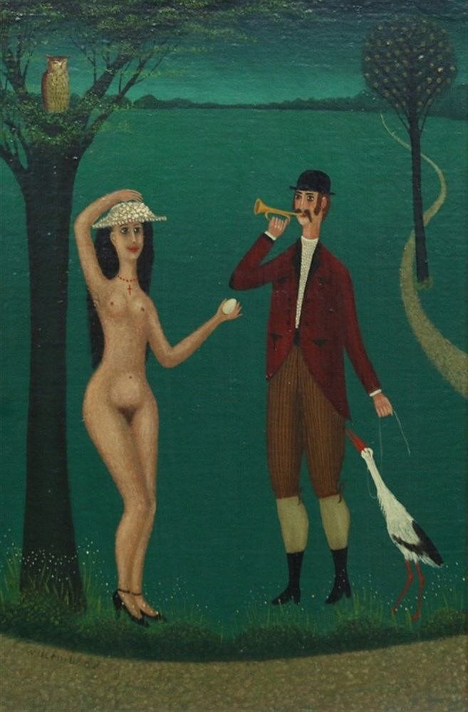 Willem Westbroek (1918-1998) A man with a stork and a woman with