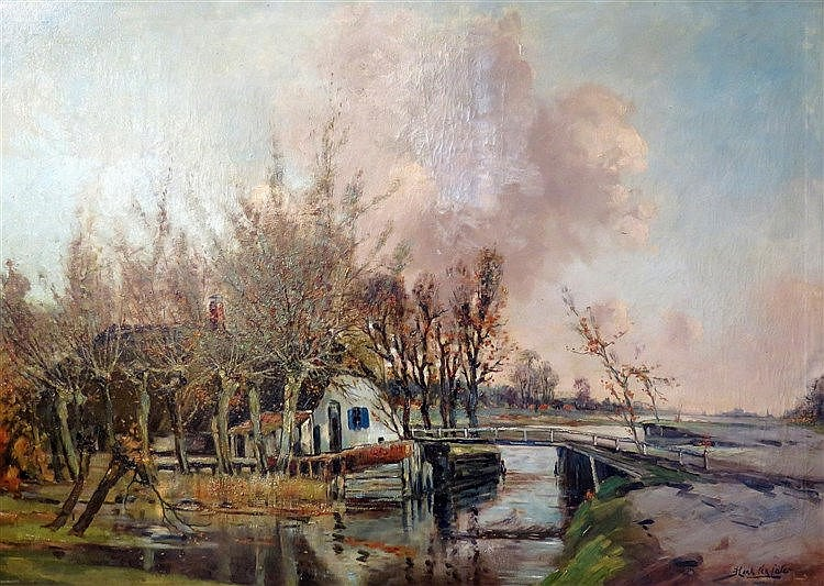Hendrik Jan ten Cate (1867-1955) Farm by the waterside. Signed lo