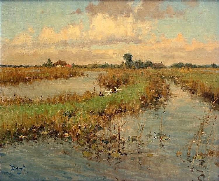 Arie Zwart (1903-1981) Landscape near Maarseveen. Signed lower le