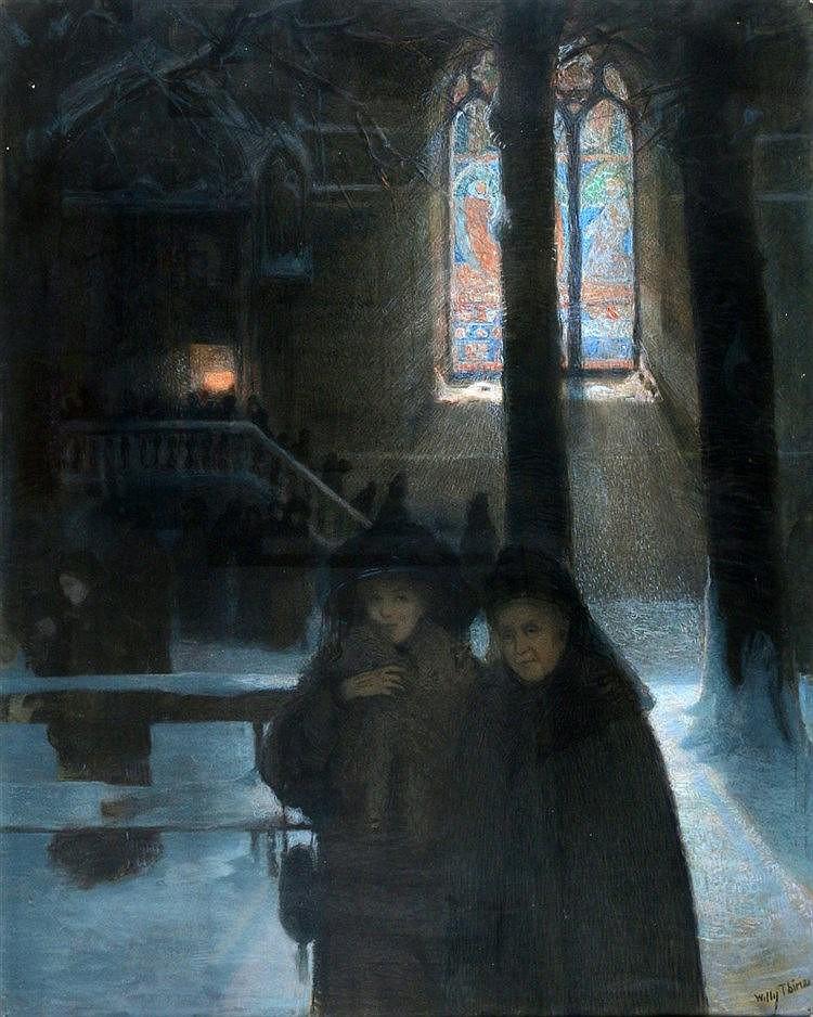 Belgische School 20e eeuw Two women leaving a church service in w