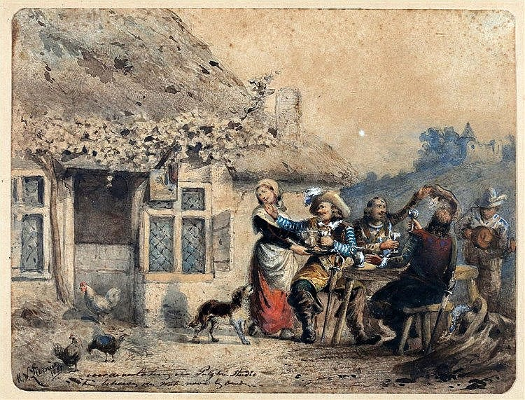 Martinus Wilhelmus Liernur (1833-1901) Drinking company in front