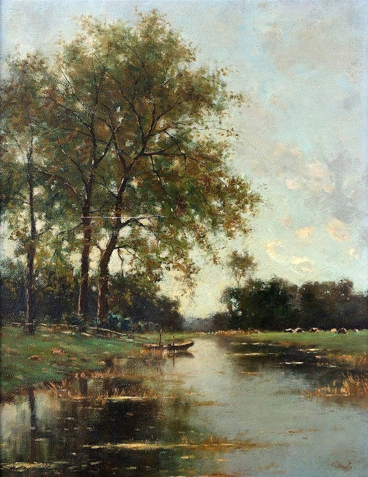 Victor Bauffe (1849-1921) Landscape with a ditch. Signed lower ri