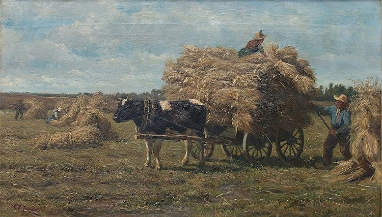Willem Pieter Candel (1835-1904) Hay harvest. Signed lower left.