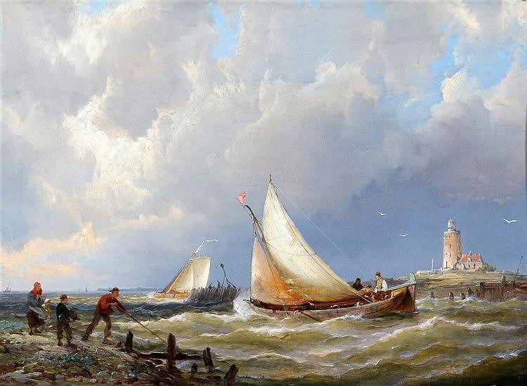 Pieter Cornelis Dommershuijzen (1834-1908) Fishing vessels leavin