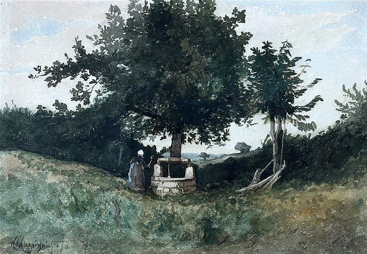 Henri Joseph Harpignies (1819-1916) Landscape with a woman by a w