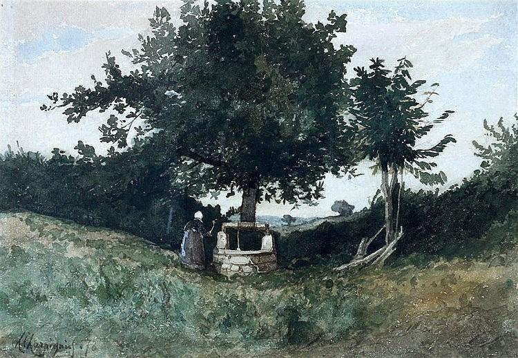 Henri Joseph Harpignies (1819-1916) Landscape with a woman by a w