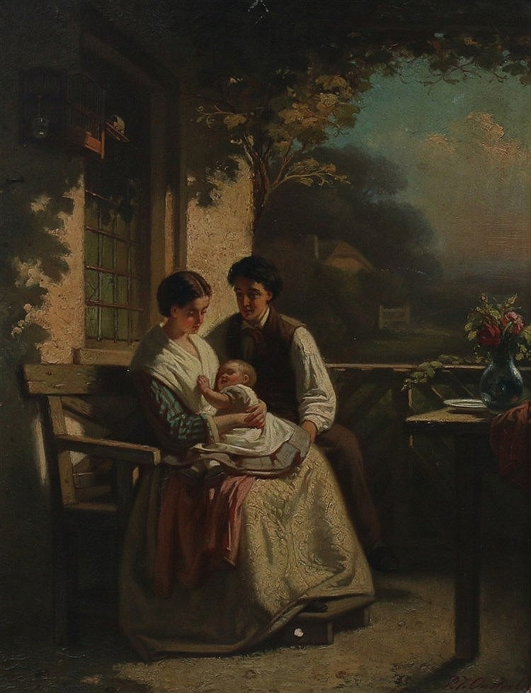 Pieter Jan Onderberg (1821-1890) Young family on a terrace. Signe