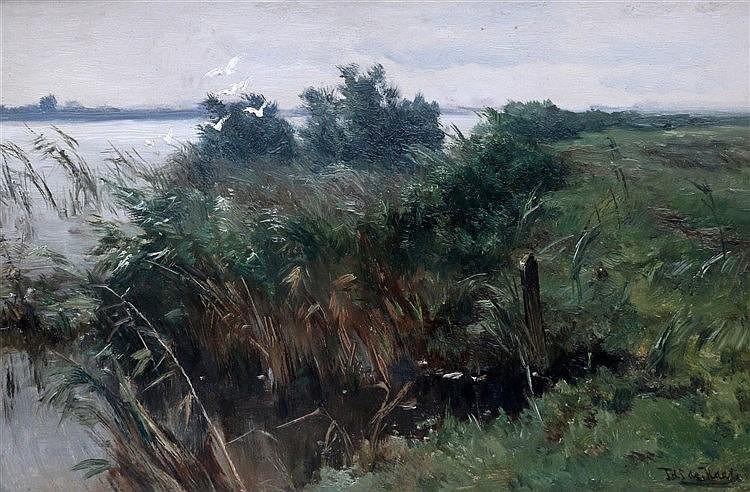 Johannes H.L. de Haas (1832-1908) Riverside with ascending birds.