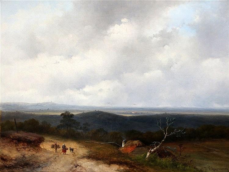 Johannes Franciscus Hoppenbrouwers (1819-1866) Landscape with a t