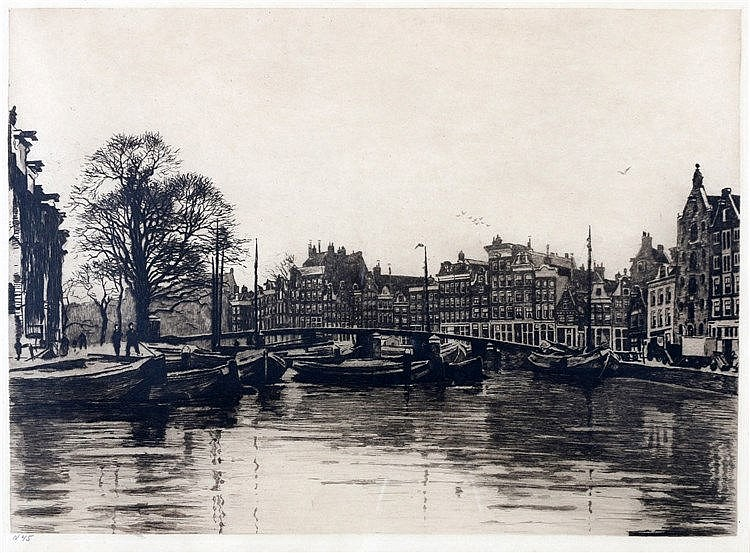 Willem Witsen (1860-1923) Kromme Waal in Amsterdam. Unsigned. Sec