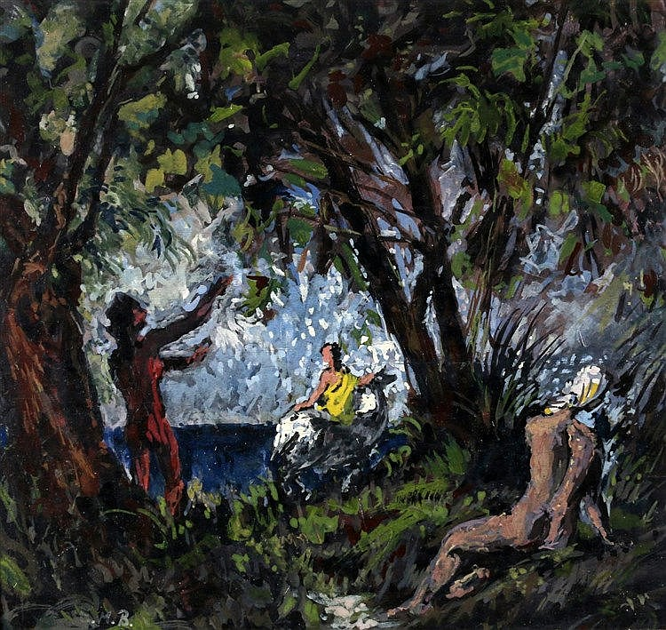 Emilio Mario Beretta (1907-1974) Bathers by a lake. Signed with m