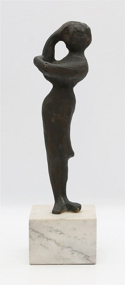 Gène Eggen (1921-2000) A bronze sculpture of a standing woman. Wi