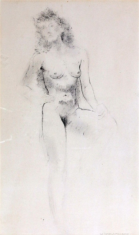 Wim Schuhmacher (1894-1986) A seated nude. Signed lower right. Te