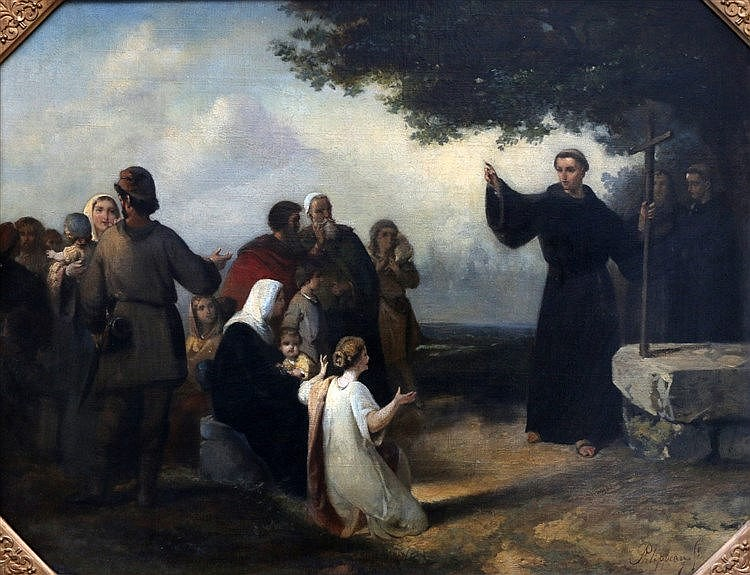 Carel Frans Phlippeau (1825-1897) Monk preaching to a company. Si
