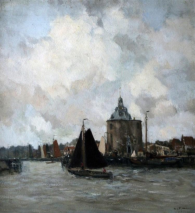 Willem George Frederik Jansen (1871-1949) View of Enkhuizen. Sign