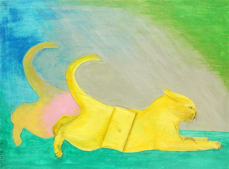 Kor Bekker (1928-1980) Jumping cat. Signed and dated '73 lower le