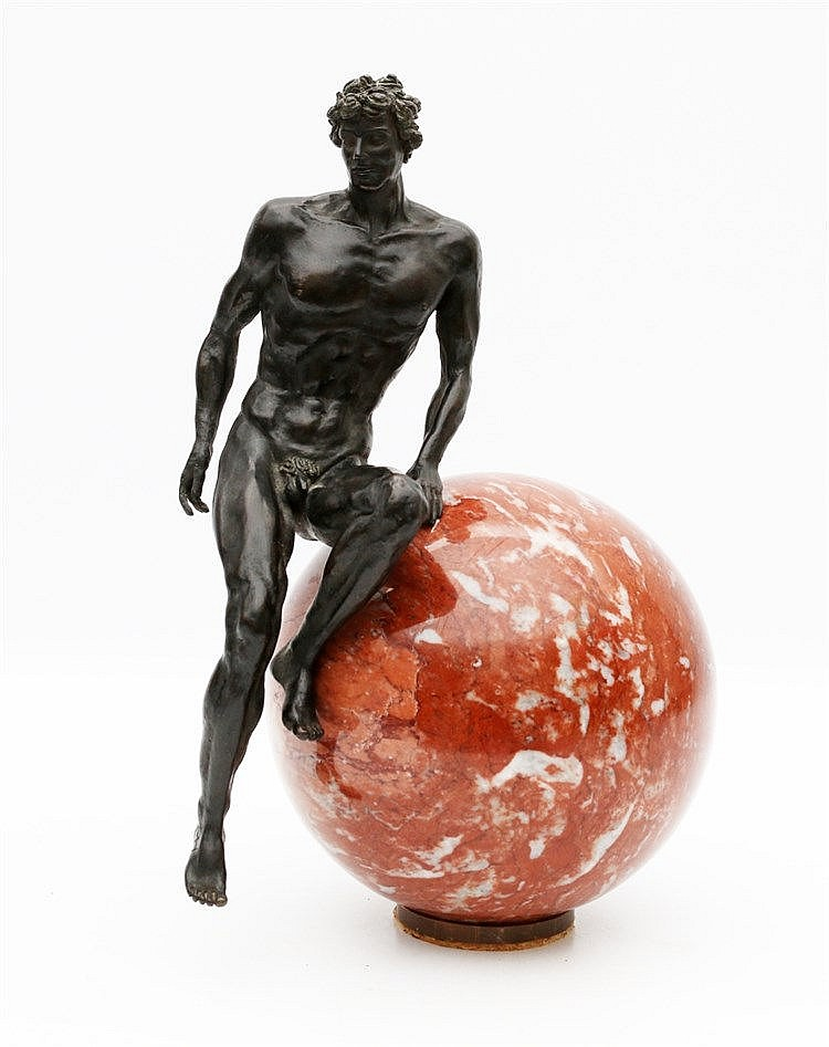 Margot Homan (1950-) A bronze sculpture on a marble orb. 'Prometh