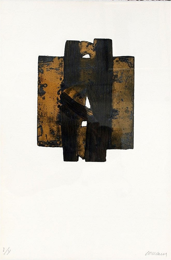 Pierre Soulages (1919-) Eau-forte XXVIII'. 1974. Signed in pencil