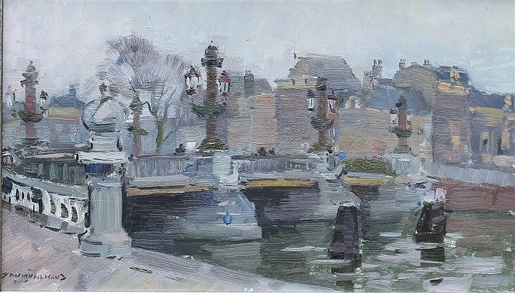 Daan Muehlhaus (1907-1981) The 'Blauwbrug' in Amsterdam. Signed l