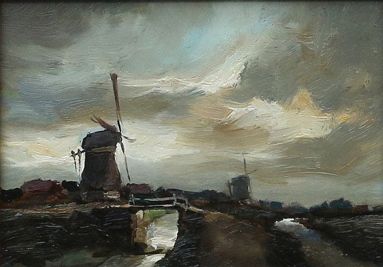 Toon Koster (1913-1989) A Dutch landscape with a windmill. Signed
