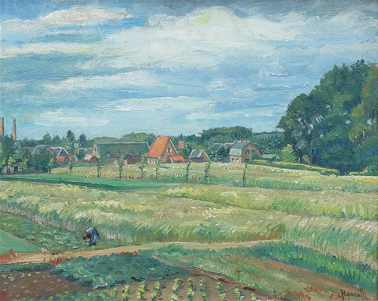 Otto Hanrath (1882-1944) A view on a Dutch village. Signed lower