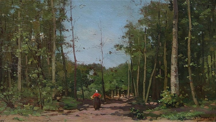 Herman Bogman (1890-1975) A woman carrying a basket on a forest p