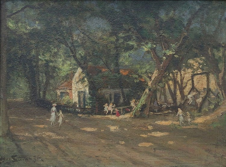Hendrik van Steenwijk (1864-1937) Children in a playground in th