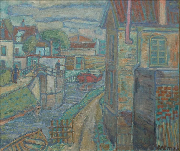 Hubert Bekman (1896-1974) Houses along a canal. Signed lower righ