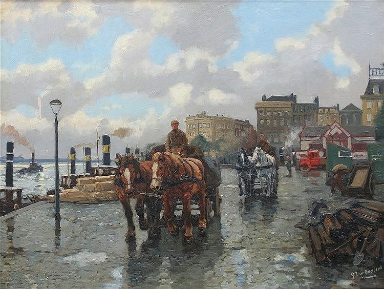 Gijsbertus Johannes van Overbeek (1882-1947) A horse drawn cart o