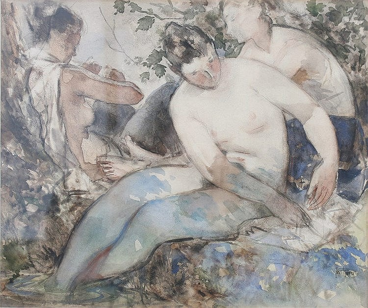 Jos Rovers (1893-1976) Three nudes. Signed lower right. Aquarel 5