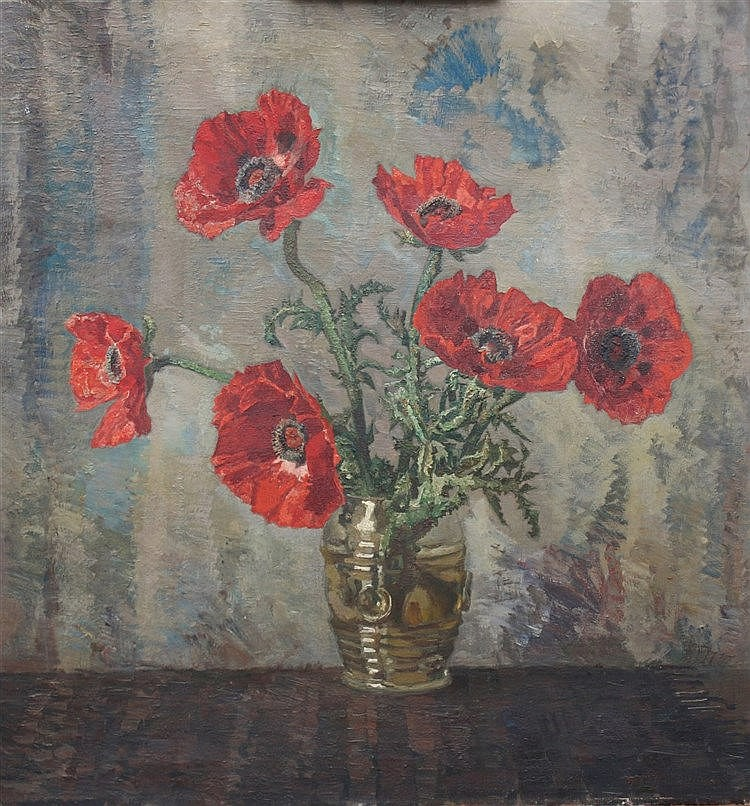 Maarten Jungmann (1877-1964) A still life with poppies. Signed lo