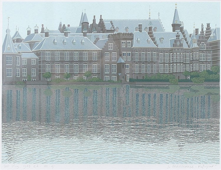 Sees Vlag (1934-) ' 's-Gravenhage Hofvijver'. Signed lower right