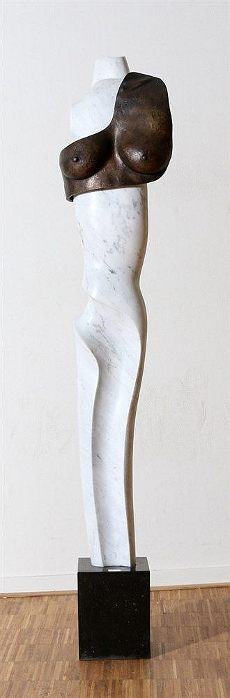 Bert Penning (1955-) A marble and bronze sculpture. Female torso.