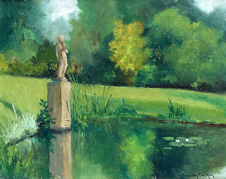 Jord van Calker (1919-1987) 'Tuin van de VARA'. Signed lower righ