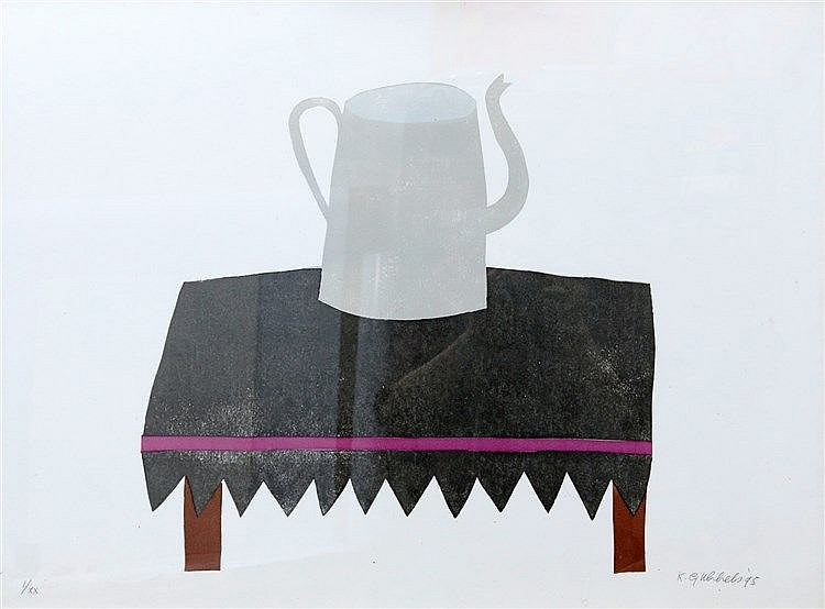 Klaas Gubbels (1934-) Coffeepot on a table. Signed and dated '95