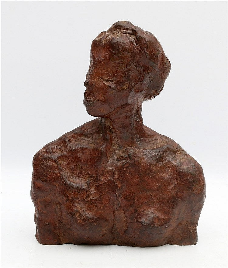 Hollandse School 20e eeuw A bronze buste of a young lady. Unsigne