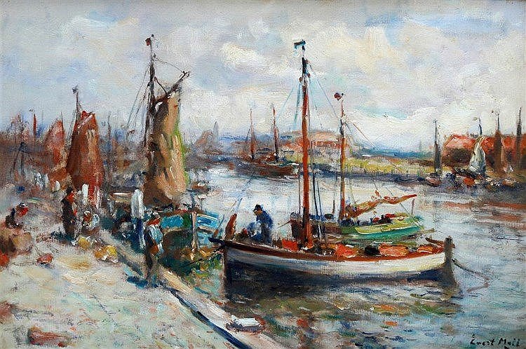 Evert Moll (1878-1955) The harbour of Scheveningen. Signed lower