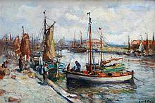 Evert Moll (1878-1955) The harbour of Scheveningen. Signed lower
