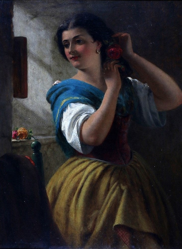 William Holyoake (1834-1894) A young Spanish lady in front of a m