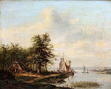 Petrus Josephus Lutgers (1808-1874) Sailing down the river. Signe