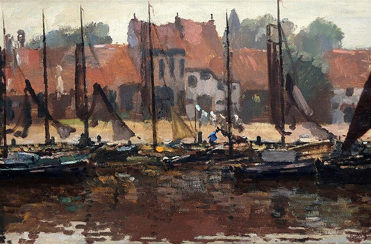 Reinier Sybrand Bakels (1873-1956) The harbour of Stavoren. Signe