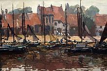 Reinier Sybrand Bakels (1873-1956) The harbour of Stavoren. Signe