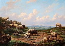 Louis Pierre Verwée (1807-1877) Landscape with grazing sheep. Sig