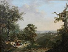 Hollandse School 19e eeuw Romantic landscape with resting travell