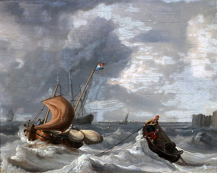 Jan Christianus Schotel (1787-1838) Hauling in the nets. Signed l