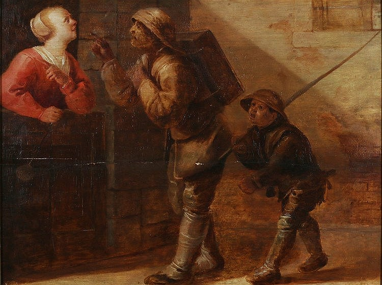 Jan van de Venne (1616-1651) A chimney sweep and his help greeted