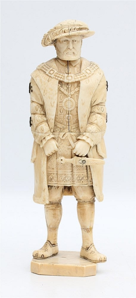 An ivory sculpture of Henry the eighth, the jacket opens to reve