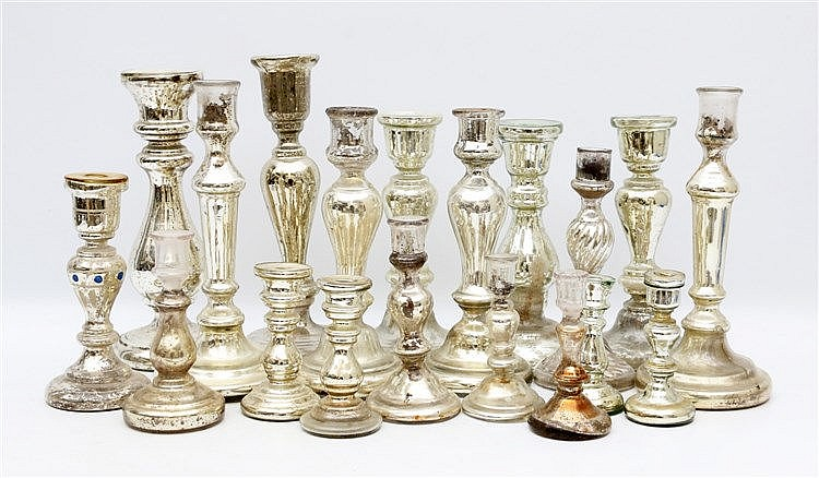 A collection of 19 Mercury glass candlesticks. 19th century and