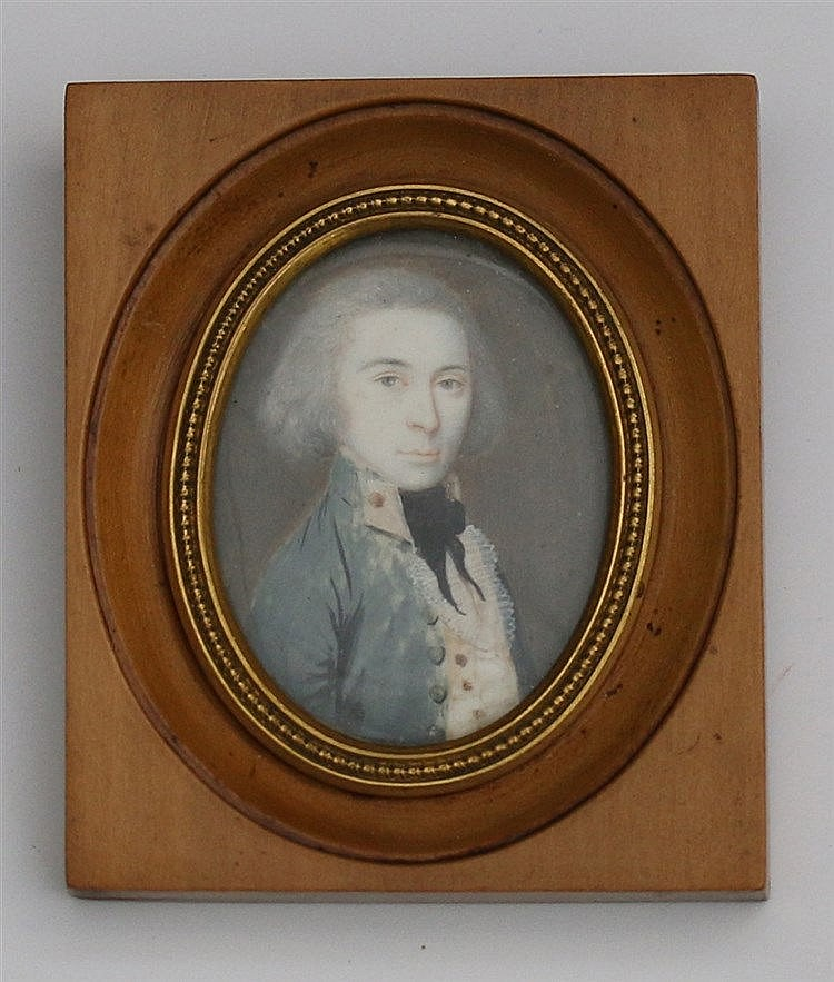A portrait miniature of a gentleman. With a walnut frame. 19th c